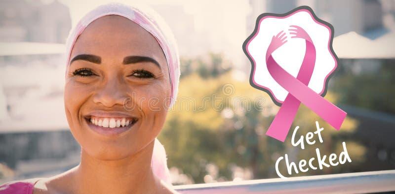 Zusammengesetztes Bild von Brustkrebs-Bewusstseinsbändern mit werden Text überprüft lizenzfreies stockbild