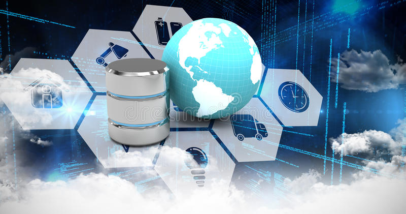 Zusammengesetztes Bild von Computerikonen in der Hexagonform stock abbildung