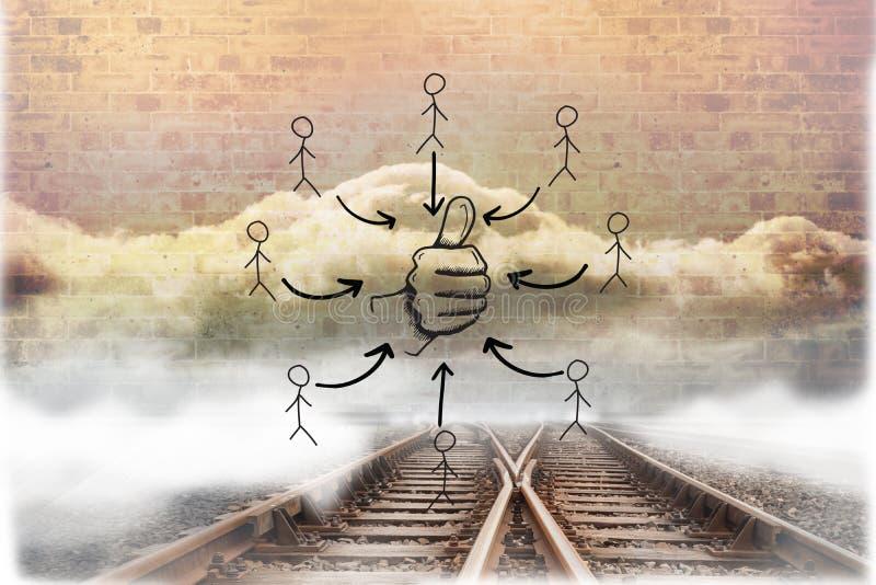 Zusammengesetztes Bild von Daumen kritzeln oben lizenzfreie stockfotos