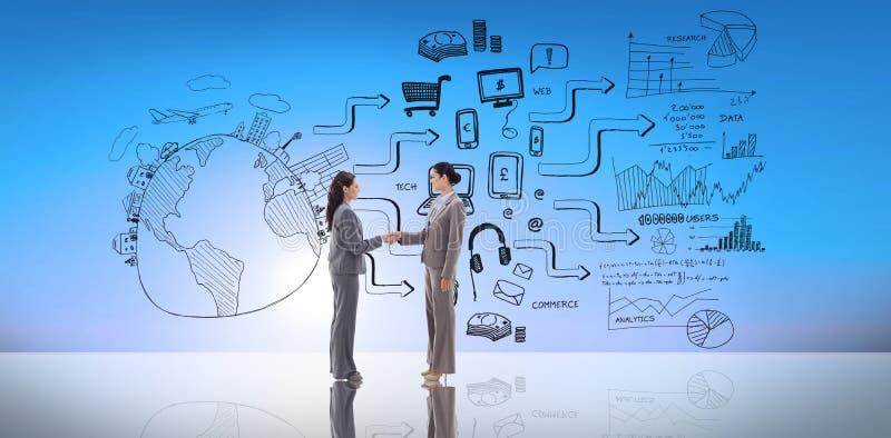 Zusammengesetztes Bild von den Geschäftsfrauen, die Hände rütteln stockbilder