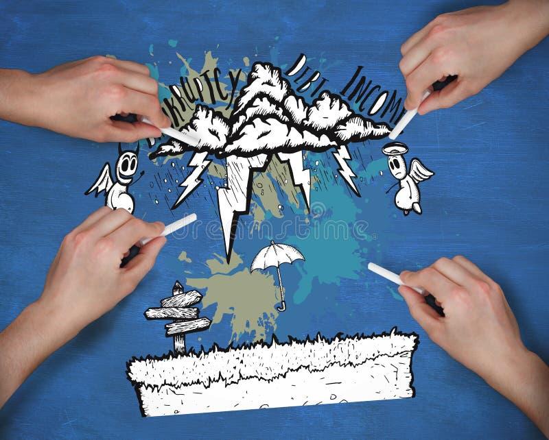 Zusammengesetztes Bild von den mehrfachen Händen, die Geld zeichnen, kritzeln mit Kreide lizenzfreies stockfoto