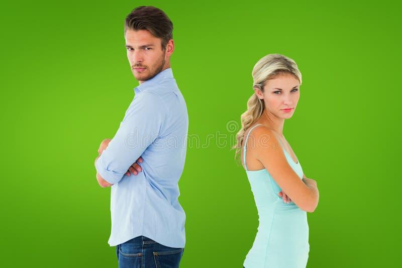 Zusammengesetztes Bild von den unglücklichen Paaren, die nicht miteinander sprechen lizenzfreie stockfotos