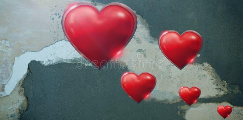 Zusammengesetztes Bild von einigen Herz auf weißem Hintergrund lizenzfreie abbildung