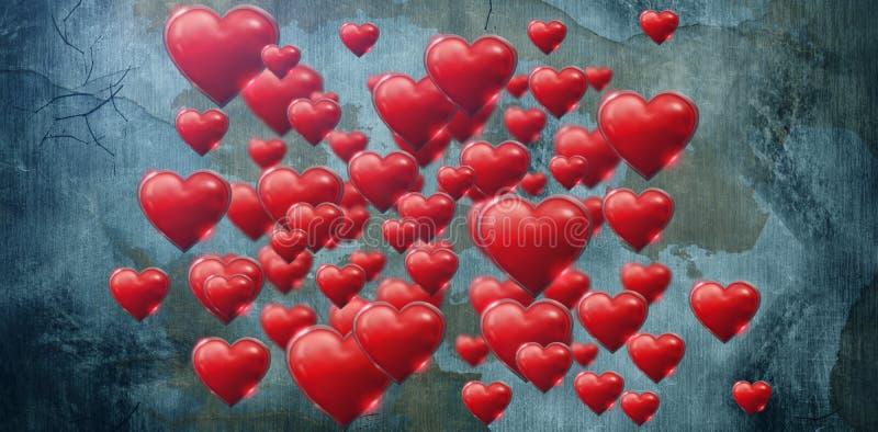 Zusammengesetztes Bild von einigen rosa Herz am weißen Hintergrundvalentinsgrußtag stock abbildung
