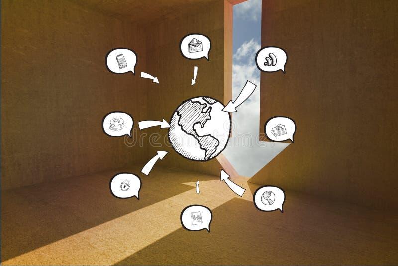 Zusammengesetztes Bild von Erde und APP-Ikonen kritzeln lizenzfreies stockbild