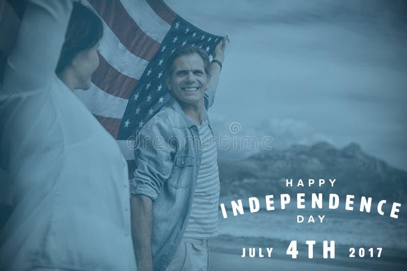 Zusammengesetztes Bild von glücklichem 4. von Juli-Text auf weißem Hintergrund lizenzfreie abbildung