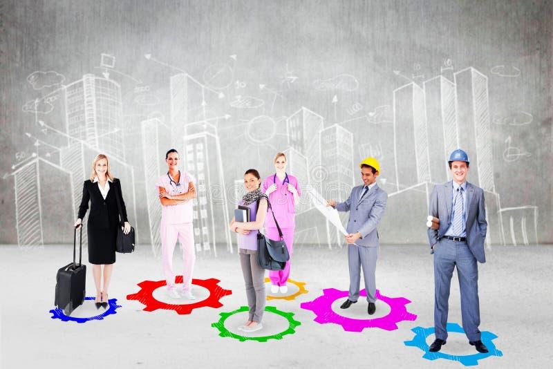 Zusammengesetztes Bild von Leuten mit verschiedenen Karrieren lizenzfreie stockfotos