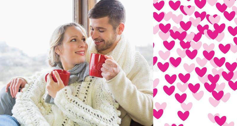 Zusammengesetztes Bild von liebevollen Paaren im Winter tragen trinkenden Kaffee gegen Fenster vektor abbildung