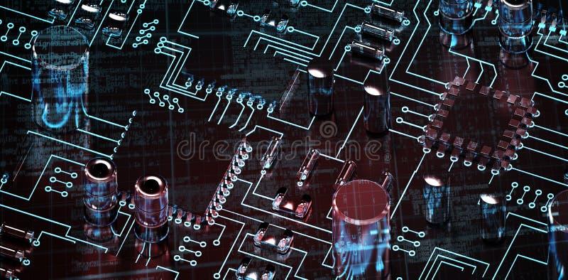 Zusammengesetztes Bild von Linien der blauen Matrix und der Codes stock abbildung