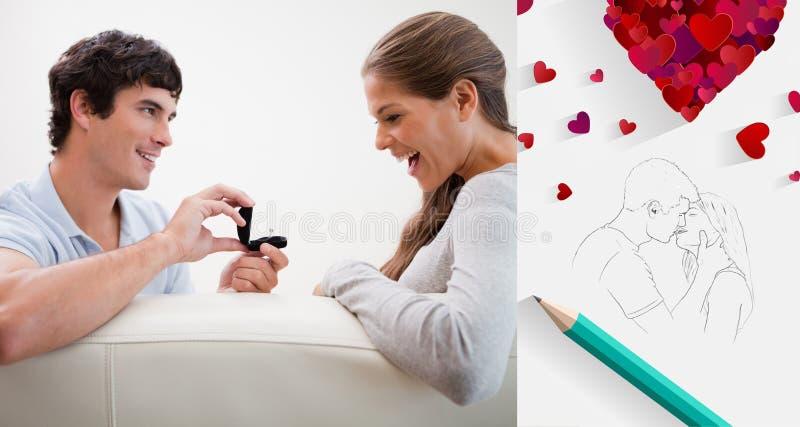 Zusammengesetztes Bild von netten Valentinsgrußpaaren lizenzfreie abbildung