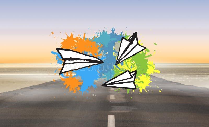 Zusammengesetztes Bild von Papierflugzeugen auf Farbe spritzt lizenzfreie abbildung