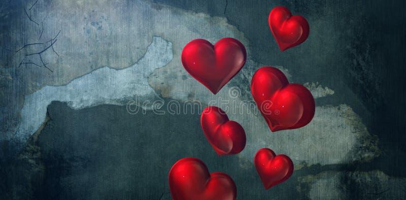 Zusammengesetztes Bild von roten Herzen stock abbildung