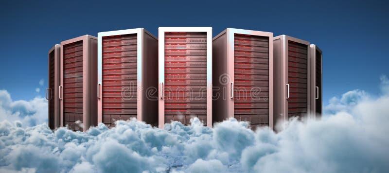 Zusammengesetztes Bild von Servertürmen vektor abbildung