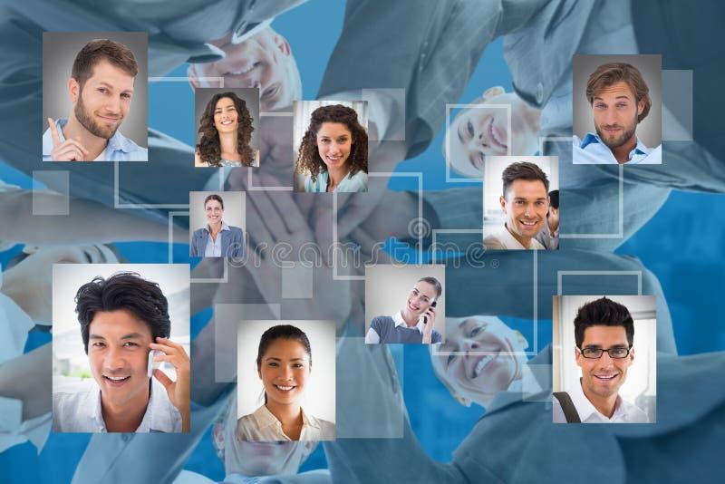 Zusammengesetztes Bild von stehenden Händen des Geschäftsteams zusammen lizenzfreies stockbild