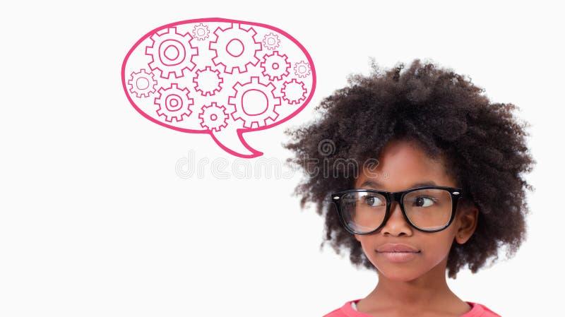 Zusammengesetztes Bild von tragenden Gläsern des netten Schülers lizenzfreie stockfotos