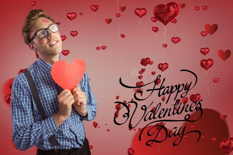 Zusammengesetztes Bild von Valentinsgrüßen simsen und bemannen das Halten eines roten Herzens vektor abbildung