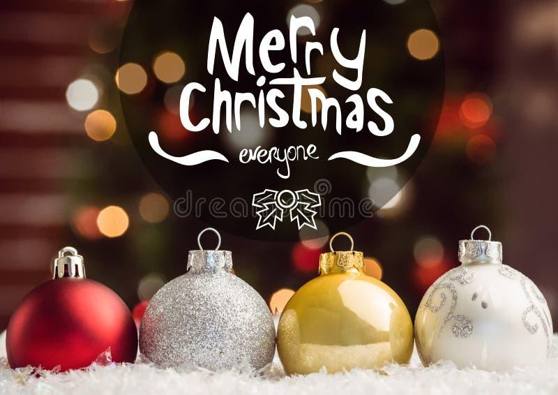 Zusammengesetztes Bild von Weihnachtsgrüßen mit buntem Flitter lizenzfreies stockbild