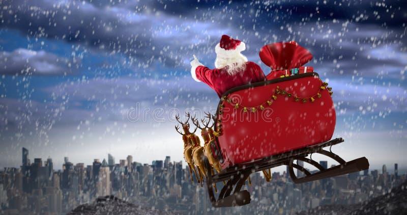 Zusammengesetztes Bild von Weihnachtsmann-Reiten auf Schlitten mit Geschenkbox stock abbildung