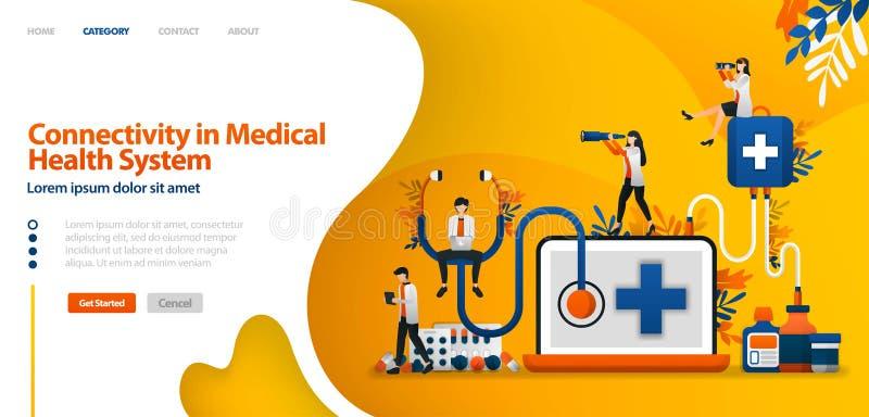Zusammenhang in medizinischem Gesundheit System Software im Drogenservice und -Patientenanamnese Vektorillustrationskonzept kann  stock abbildung