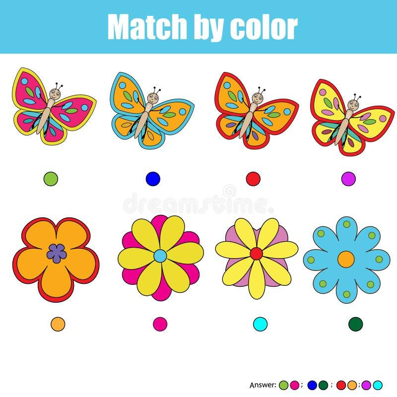 Zusammenpassende Kinder Lernspiel, Match durch Farbe stock abbildung