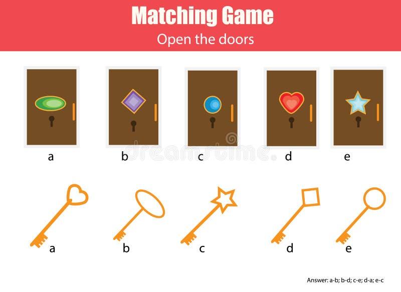 Zusammenpassendes Kinderlernspiel Bringen Sie die Schlüssel und Türen zusammen und geometrische Formkindertätigkeit lernen stock abbildung