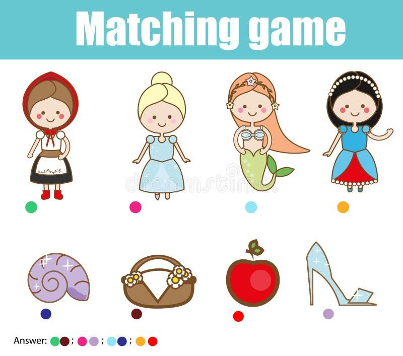 Zusammenpassendes Kinderlernspiel Matchmärchenprinzessin mit Gegenständen stock abbildung