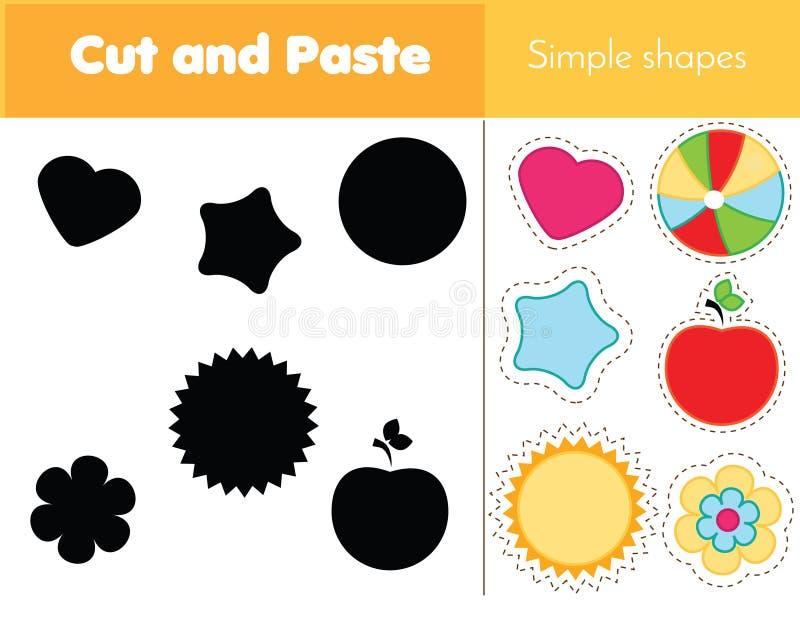 Zusammenpassendes Spiel des Schattens für Kleinkinder Lernen von einfachen Formen Lernspiel für Kinder stock abbildung