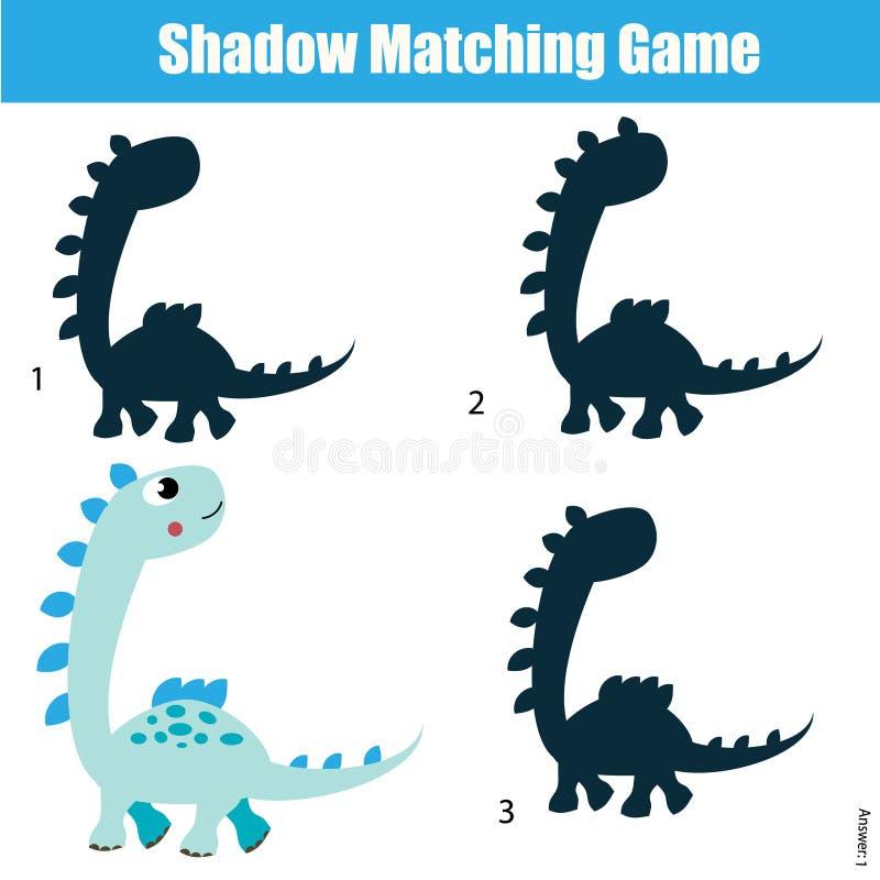 Zusammenpassendes Spiel des Schattens Scherzt Tätigkeit mit Dinosaurier stock abbildung