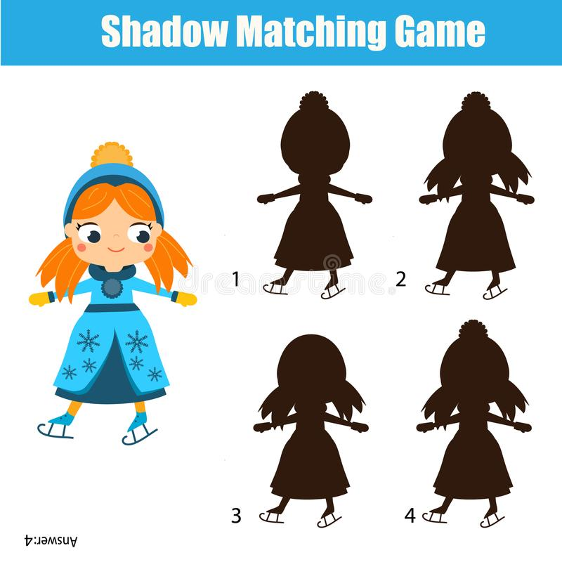 Zusammenpassendes Spiel des Schattens Scherzt Tätigkeit mit Eislaufmädchen vektor abbildung