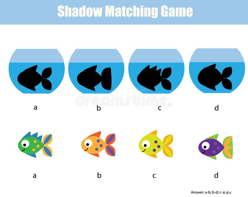 Zusammenpassendes Spiel des Schattens Scherzt Tätigkeit mit Fischen lizenzfreie abbildung