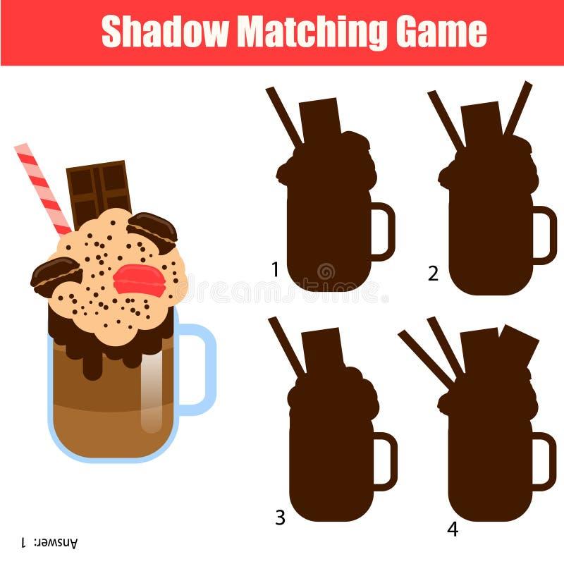 Zusammenpassendes Spiel des Schattens Scherzt Tätigkeit mit Milchshakecocktail lizenzfreie abbildung