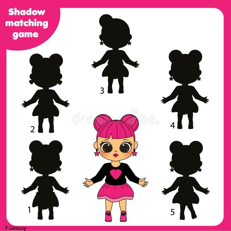 Zusammenpassendes Spiel des Schattens Scherzt Tätigkeit mit schönem Mädchen vektor abbildung