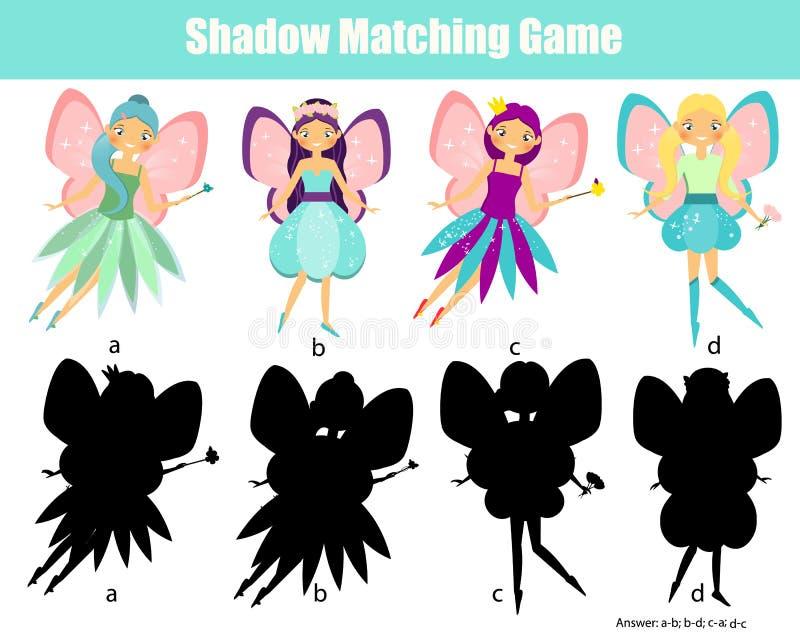 Zusammenpassendes Spiel des Schattens Scherzt Tätigkeit mit schöner Fee vektor abbildung
