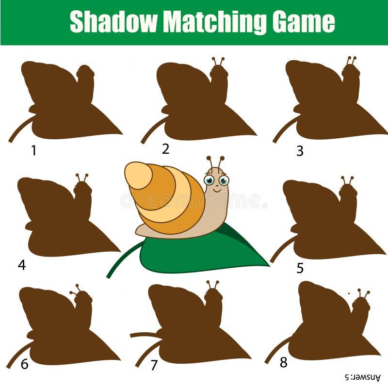 Zusammenpassendes Spiel des Schattens Scherzt Tätigkeit mit Schnecke Tierthema vektor abbildung