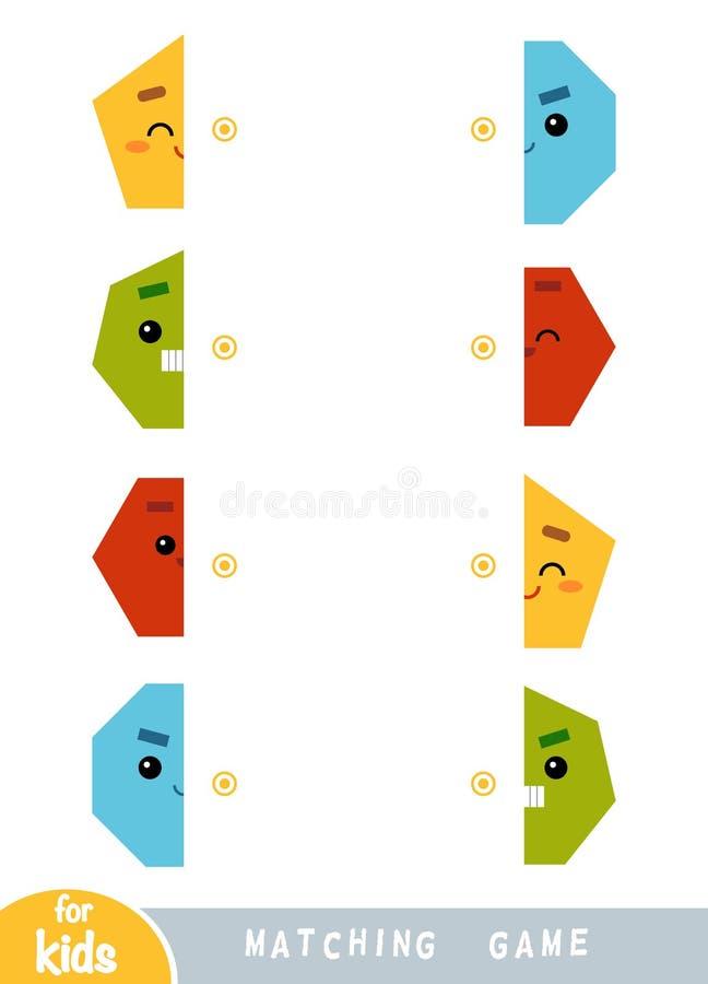 Zusammenpassendes Spiel, Spiel für Kinder Match die Hälften Ein Satz geometrische Formen stock abbildung