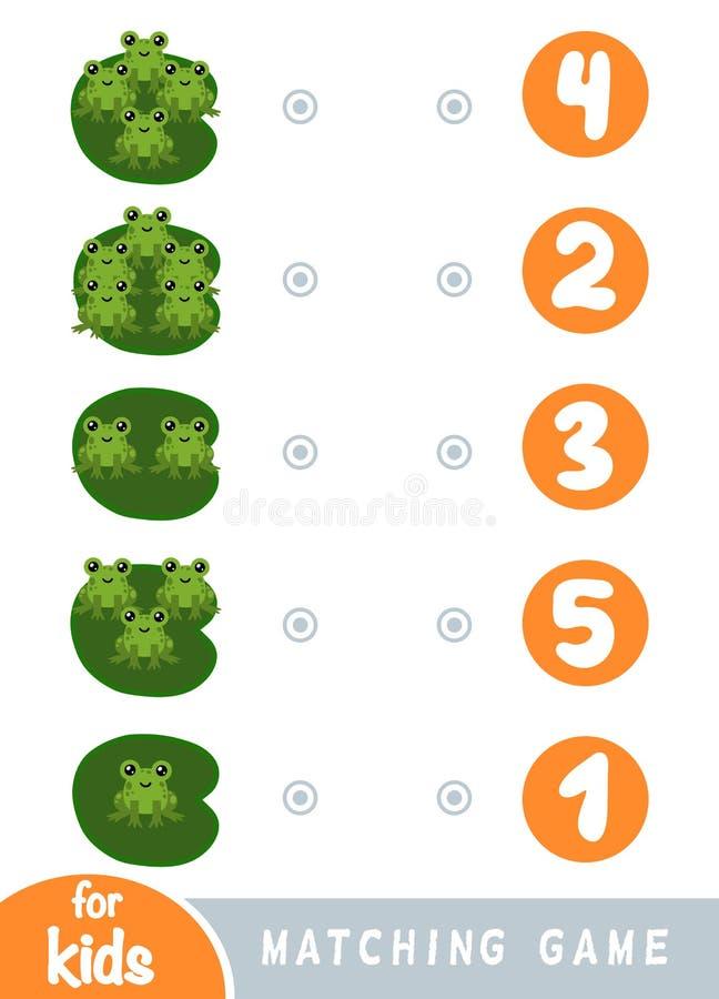 Zusammenpassendes Spiel f?r Kinder Z?hlen Sie, wieviele Fr?sche und die korrekte Zahl w?hlen stock abbildung