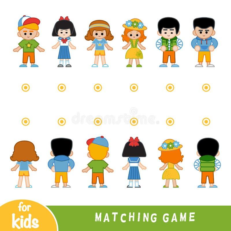 Zusammenpassendes Spiel Finden Sie die Front und die Rückseite der Charaktere stock abbildung