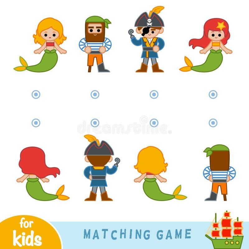 Zusammenpassendes Spiel Finden Sie die Front und die Rückseite der Charaktere lizenzfreie abbildung