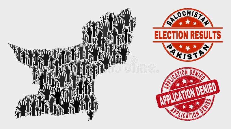 Zusammensetzung der Abstimmung Balochistan-Provinz-Karte und des verkratzten Anwendung verweigerten Stempels stock abbildung