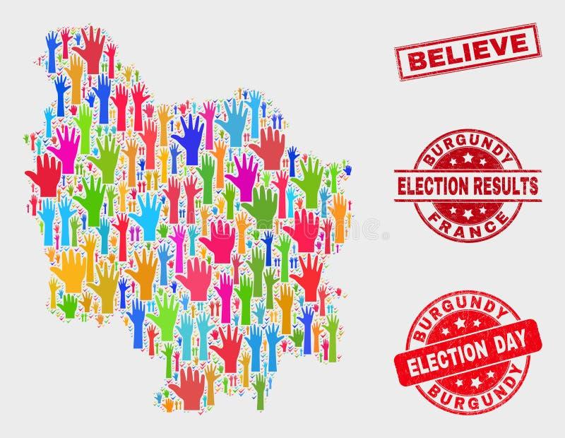 Zusammensetzung der Wahl-Burgunder-Provinz-Karte und Bedrängnis glauben Stempelsiegel lizenzfreie abbildung
