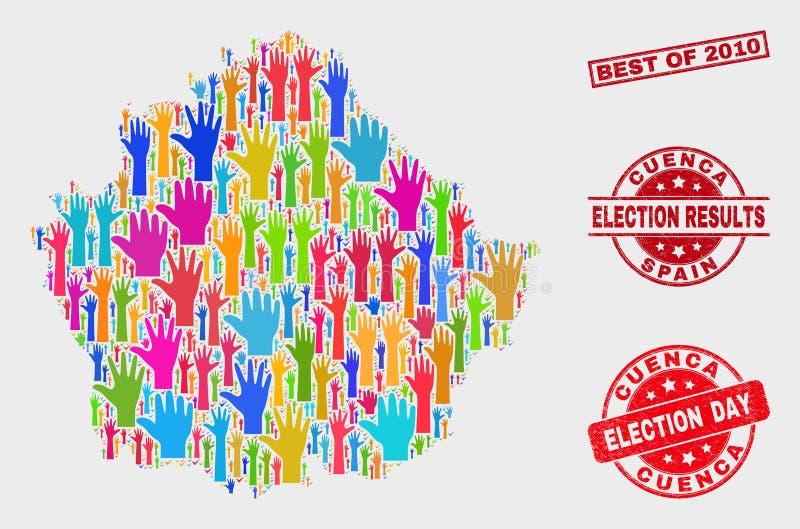 Zusammensetzung der Wahl-Cuenca-Provinz-Karte und verkratztes Bestes von Stempelsiegel 2010 lizenzfreie abbildung
