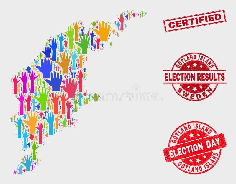 Zusammensetzung der Wahl-Gotland-Insel-Karte und des verkratzten zugelassenen Stempels lizenzfreie abbildung