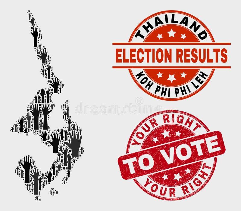 Zusammensetzung der Wahl Koh Phi Leh Map und Ihr Recht beunruhigen, Dichtung zu wählen vektor abbildung