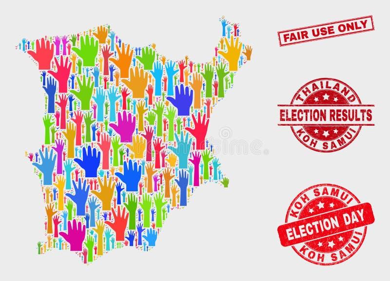 Zusammensetzung der Wahl Koh Samui Map und des Wasserzeichens des Bedrängnis-fairen Gebrauchs nur lizenzfreie abbildung
