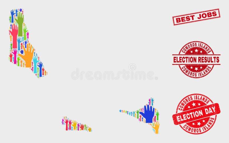 Zusammensetzung der Wahl-Komoren-Insel-Karte und verkratzte beste Jobs stempeln vektor abbildung