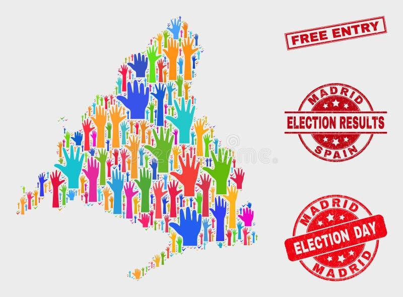Zusammensetzung der Wahl-Madrid-Provinz-Karte und freie Eintritts-Dichtung beunruhigen vektor abbildung