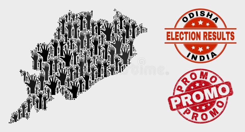 Zusammensetzung der Wahl-Odisha-Zustands-Karte und der Bedrängnis Promo-Dichtung stock abbildung