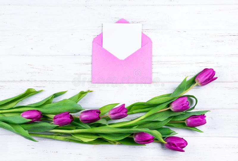 Zusammensetzung der weißen leeren Karte in der purpurroten Farbe öffnete den Handwerksumschlag, der mit purpurroten Tulpen auf we stockbilder