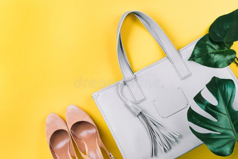Zusammensetzung der weiblichen Handtasche, der Schuhe und des gr?nen Blattes lizenzfreies stockbild