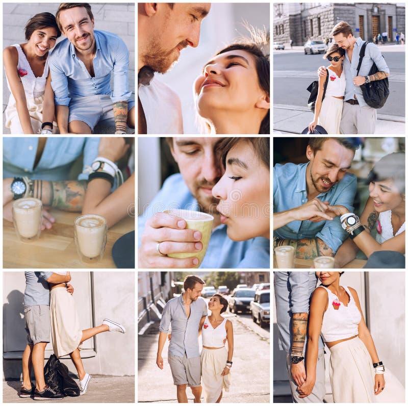Zusammensetzung des glücklichen Paars in der Stadt lizenzfreie stockfotografie